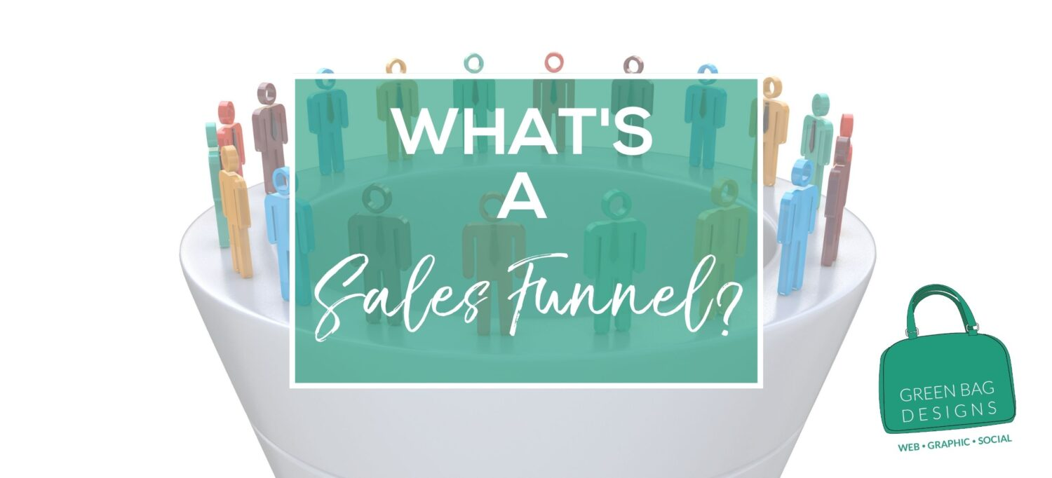 What's a sales funnel Hero Image in a Green Box with White letters